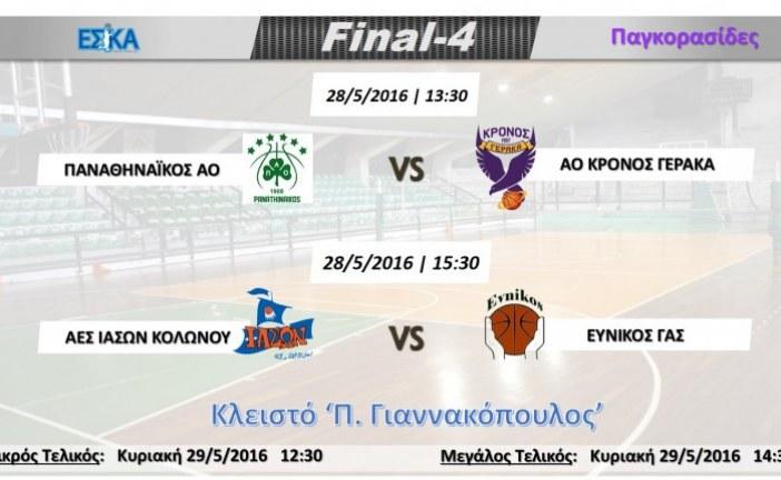 Final-4 Παγκορασίδων 28-29.5.2016