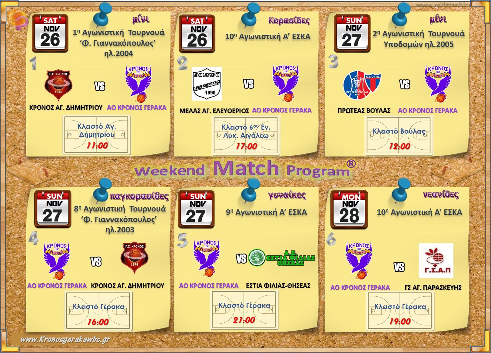 Πρόγραμμα Αγώνων Εβδομάδας 26-28.11.2016