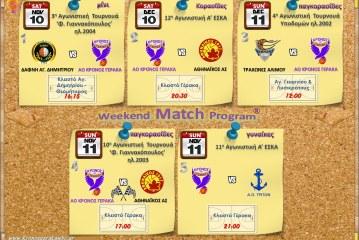Πρόγραμμα Αγώνων Εβδομάδας 10-12.12.2016