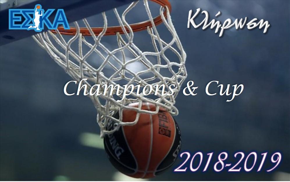 Κληρώσεις Πρωταθλημάτων – Κυπέλλου ΕΣΚΑ 2018-2019.
